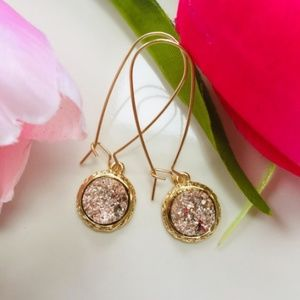 Jewelry - Simulated Druzy Dangle Wire Earrings (Rose)